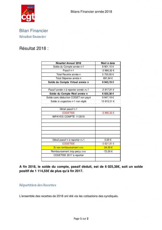 Bilan financier 20181