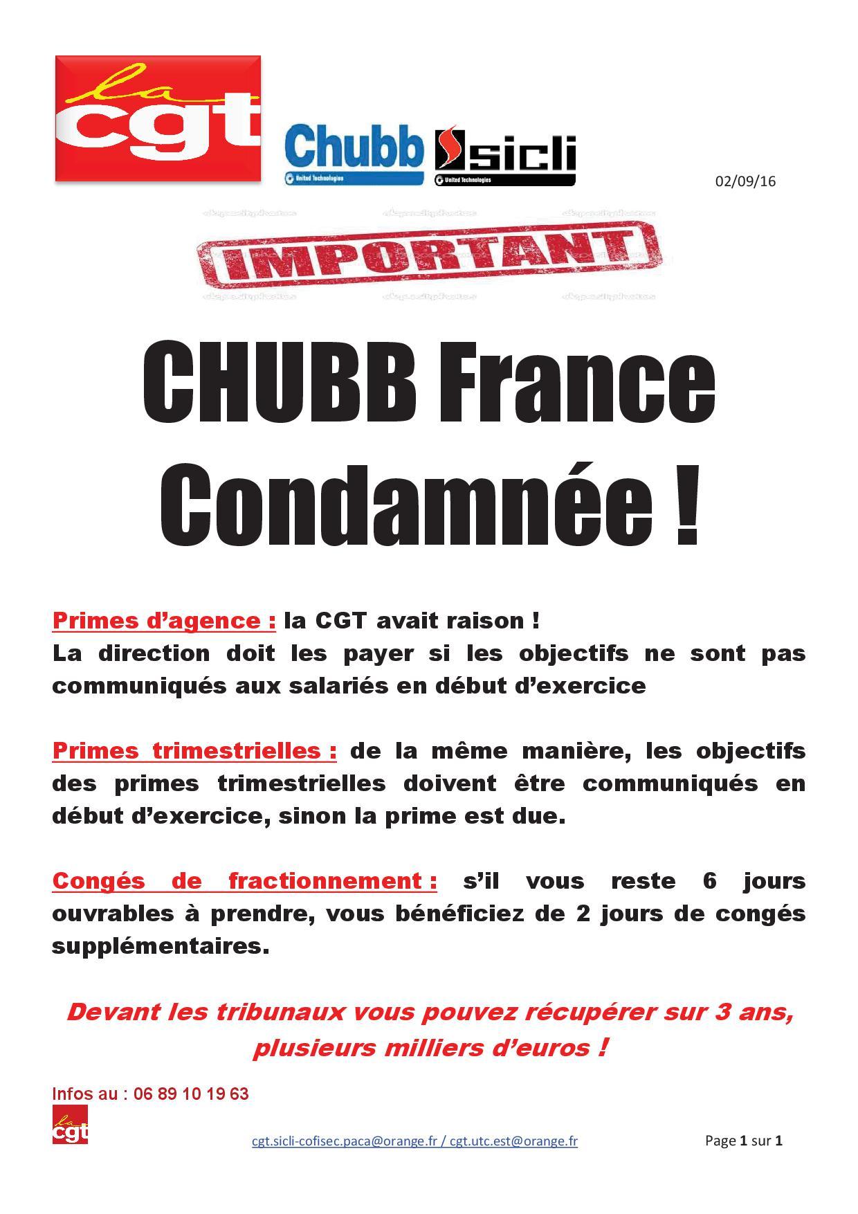 Chubb france condamnee