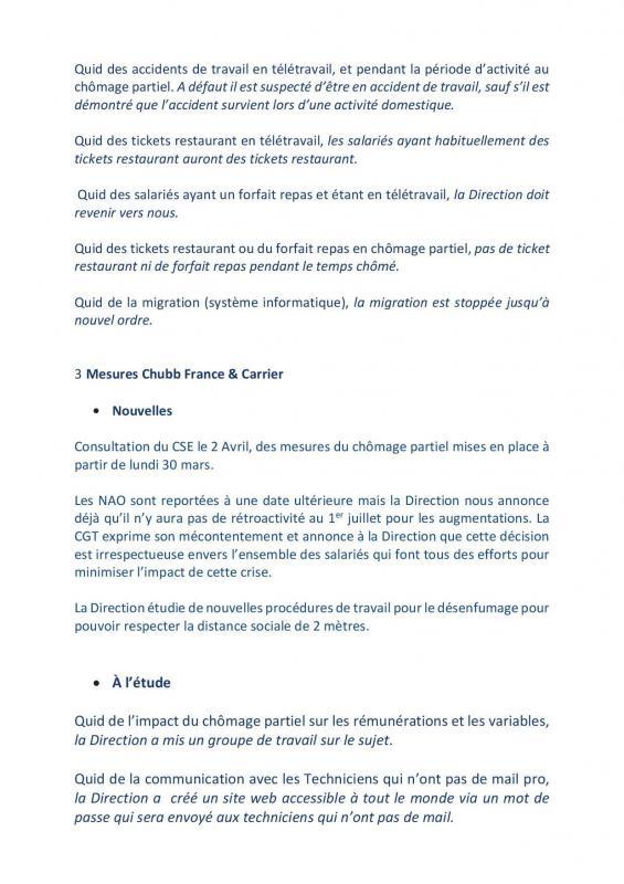 Compte rendu de la te le re union du cse restreint du jeudi 26 mars 2020