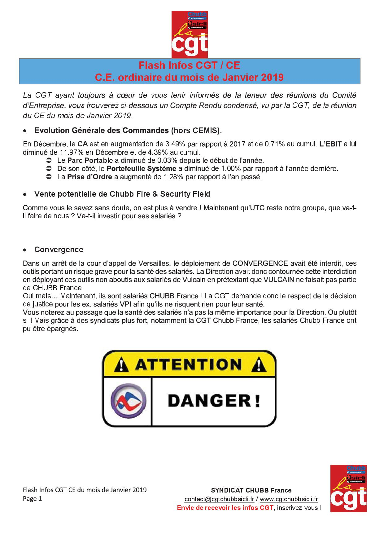 Flash info ce cgt 0120191