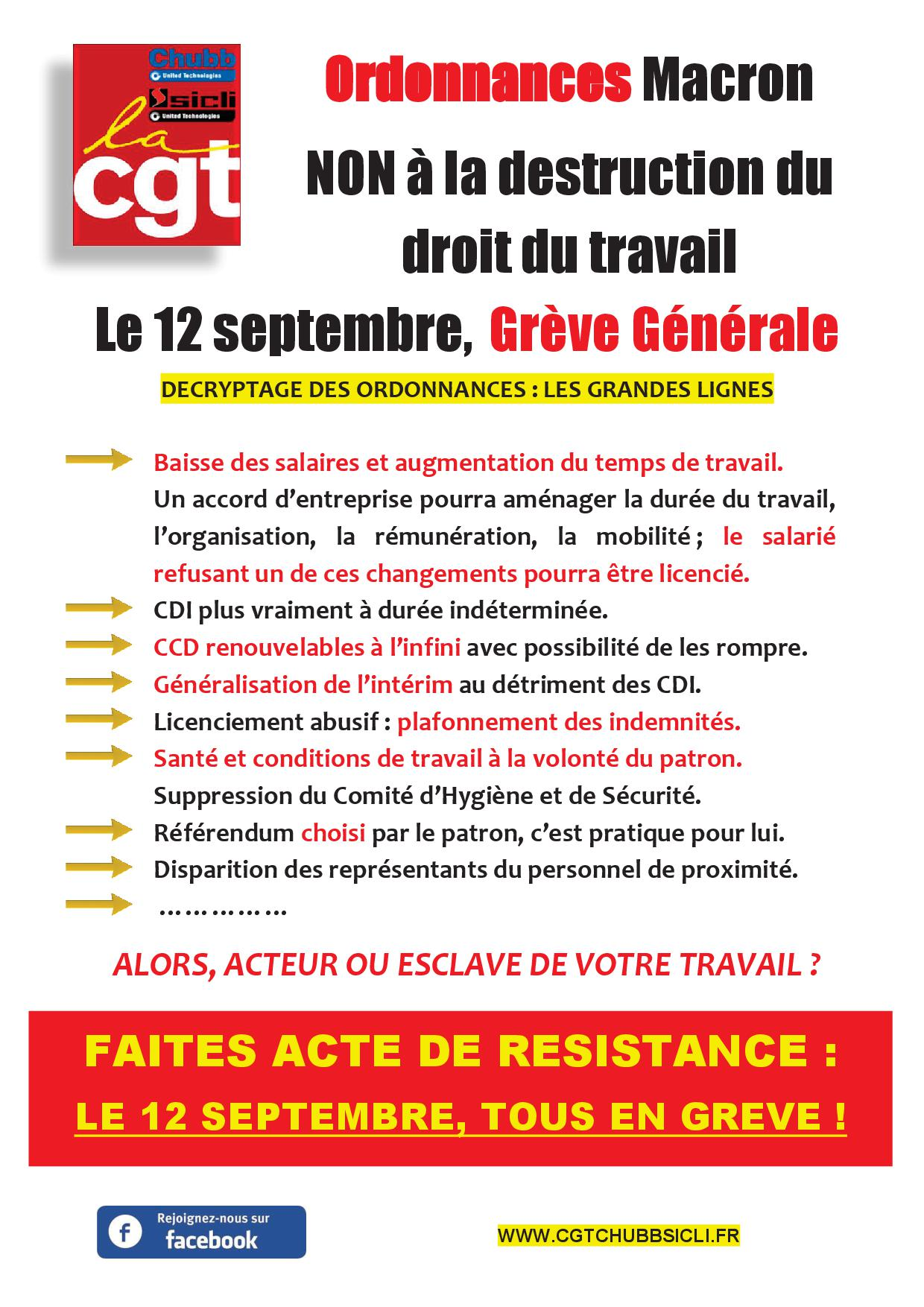 Ordonnances macron 12 sept cgt chubb france